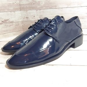 Zara navy patent leather Derby shoes
